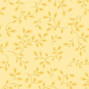 W108206 Extra Wide Cotton Fabric - Pale Yellow Leaf and Vine